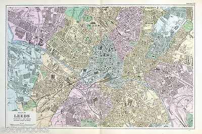 LEEDS  - Original Antique Map / Street Plan - BACON , 1907
