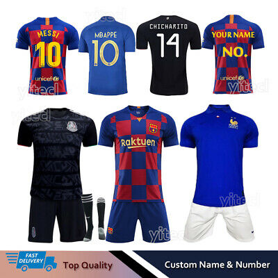 19/20 Football Full Kit Kids Youth Boys Soccer Team Jersey Strips Sports Outfit