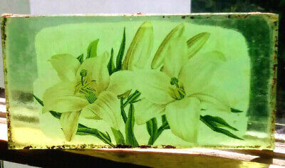 Stained Glass Flower - Lillies -  Kiln fired green fragment pane!