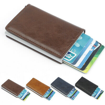 Leather RFID Blocking Purse Aluminum Metal Credit Card Holder Wallet Money Clip