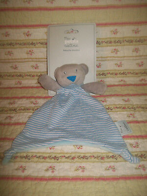 D18 Doudou Mes Petits Cailloux Triangle Ours Raye Bleu 25Cm Neuf