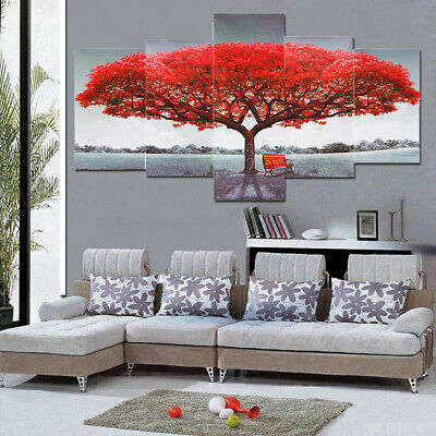 Tree Painting 5pcS Canvas Print Flowers Poster Wall Art Gift Picture Home Decor