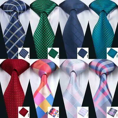 UK Classic Men's Ties Blue Red Pink Teal Necktie Plaid Checks Tie Set Wedding