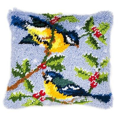 Winter Scene Blue Tits  : Vervaco Latch Hook Cushion Kit  - PN0014147