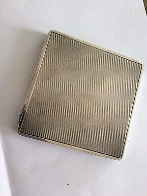Vintage French Henin & Cie Sterling Silver Compact  Art Deco Ostrich Powder Puff