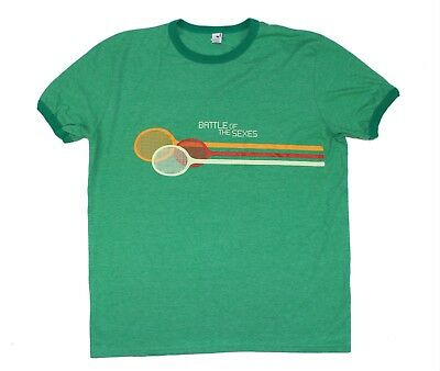 Battle of the Sexes Movie Adult Large Ringer T-Shirt - Retro Style Tennis King