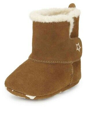 Marks And Spencer Kids' Suede Faux Fur Lined Booties 3-6 Months M&S