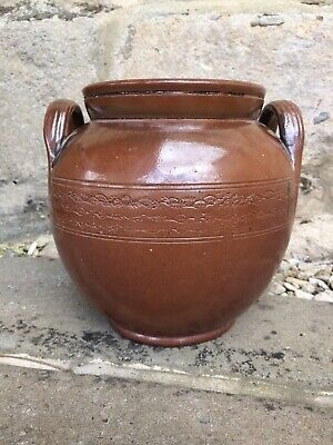 "Vintage Retro large Brown stoneware Storage jar 8"" X 8"" With Double Handles"