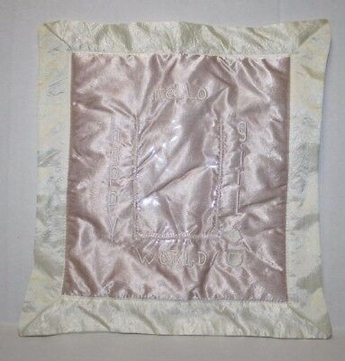 """Barefoot Dreams Wall Hanging 12"""" Holds Picture HELLO WORLD GIRL Pink Ivory Satin"""