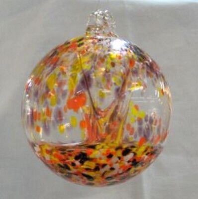 """Hanging Glass Ball 4"""" Diameter """"October Tree"""" Witch Ball (1) GB7"""