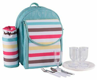 Summerhouse Sweet Summers Day 4 Person Picnic Backpack Cooler Bag w/ Tableware