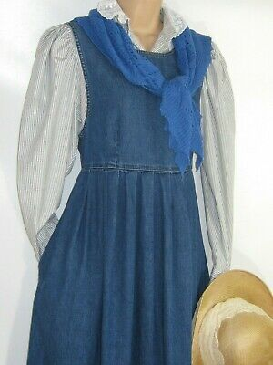 Laura Ashley Vintage Landgirl Country Denim Pinafore Summer Dress, 10/12