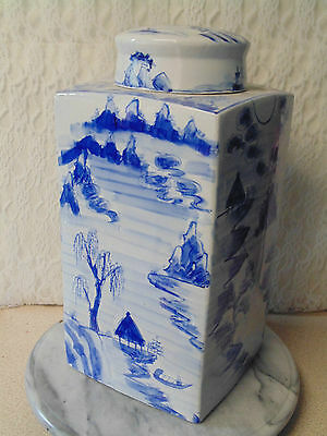 "Antique / Vintage Large 14"" Heavy Handpainted Chinese Blue White Lidded Jar"