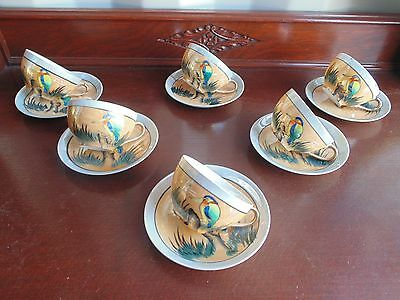 Beautiful Vintage Set 6 Japanese Porcelain Hand Painted Kingfisher Cups & Saucer