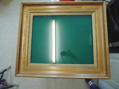 ANTIQUE EARLY 20thC. LARGE HEAVY SOLID WOOD GLAZED PICTURE FRAME