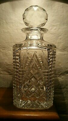 Vintage Lead Crystal Glass Decanter Heavy Cut Glass Whisky/Brandy Decanter