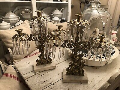 PAIR Antique Vintage Girandole Brass Candelabra Marble Base With 60 Glass Prisms