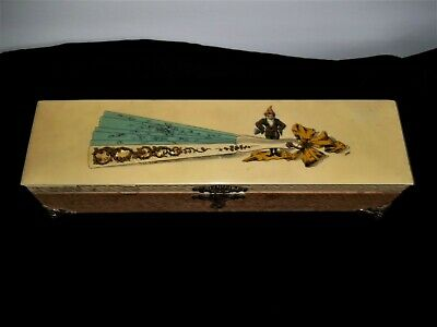 Antique Fan Box with Elf Gnome Front original hardware sold as-is