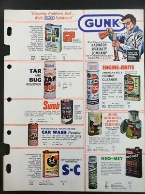 "Vintage 1978 GUNK ""Cleaning Problems End..With GUNK Solutions"" Jobbers Catalog"