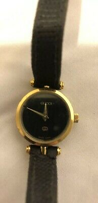 1fa2ede0e Vintage GUCCI Swiss Women's Watch 579.005 Gold Case Black Dial. New battery.