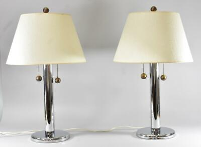 Pair Chrome & Brass George Kovacs Two Socket Cylinder Table Lamps