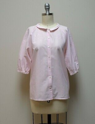 bef8dc44fe VINTAGE CACHAREL PARIS Embroidered Front Pale Pink Blouse Button Front Shirt  S