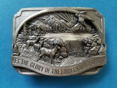 Vintage 1983 Let the Glory of Lord Endure Forever Belt Buckle #R-27 Pewter