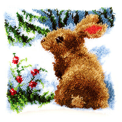 Rabbit in the Snow  : Vervaco Latch Hook Cushion Kit  - PN0147712