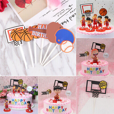 Wedding & Anniversary Bands 4pcs Basketball Football Baseball Cake Toppers Muffin Cake Cupcake Picks Toppers Kids Birthday Party Decoration Supplies