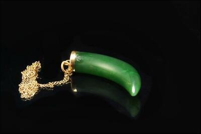 Old Chinese Deep Green Jade Claw Shape 14K Gold Pendant Necklace A11500