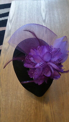 Fascinator - Purple  sinamay, flower, beads & feathers mounted on a clip
