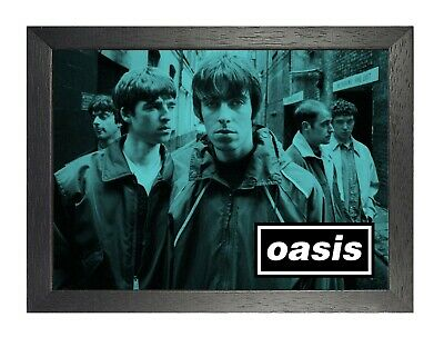 Oasis 15e English Rock Band Poster Gallagher Music Star Photo Blue Picture Print