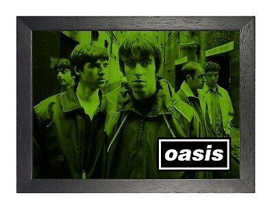 Oasis 15e English Rock Band Poster Gallagher Music Star Photo Green Picture
