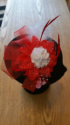 Fascinator - Red & white sinamay, flower, beads & feathers mounted on a headband