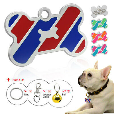 Engraved Dog Tags Disc Personalised Custom Bone Shape Pet Cat ID Name Collar Tag