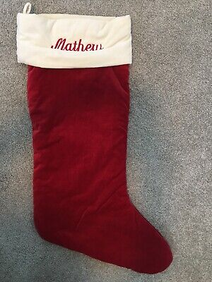 "Pottery Barn Velvet Extra Large Red White Cuff Christmas Stocking MONO ""Matthew"""