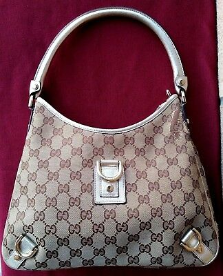 0083e1dd09 Borsa Gucci Usata - Abbey D Ring Hobo Gg Handbag Used - Canvas And Gold  Leather