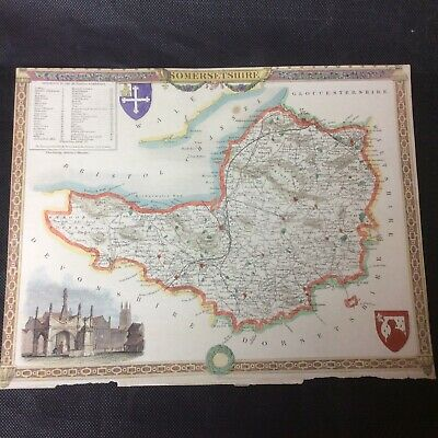 Antique 19th Century Unframed Map Of Somerset  #3