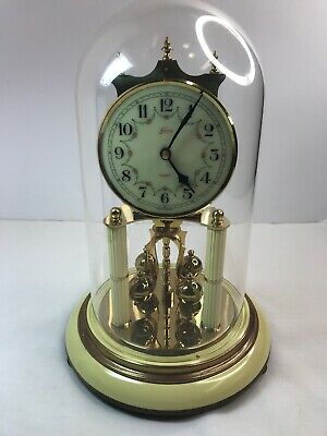 Vintage Kern Sohne Quartz Clock W/ Glass Dome Made In Germany Tested & Working🕰