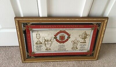 Manchester United FC European Cup Winners 1968 Collectors Wall Mirror 1970s