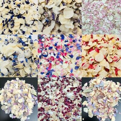 real LARKSPUR PETALS confetti wedding table pink white blue natural dried .75 L
