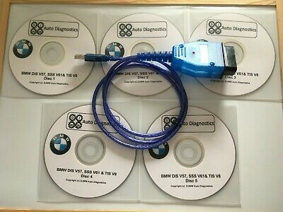 Bmw Dis V44 V57 Sss V63 & Tis V8 Gt1 Inpa Ediabas Diagnostic Software & Usb Lead