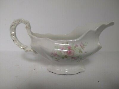 John Maddock Sons Royal Vitreous Pink Floral Porcelain Gravy Sauce Boat