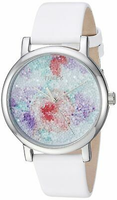 ad70b6448 Timex Womens Crystal Bloom White/Silver Floral Leather Strap Watch TW2R66500