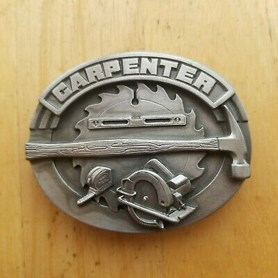Vintage 1991 **Carpenter** Commemorative Pewter Belt Buckle