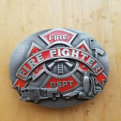Vintage 1991 ***Fire Fighters / Fire Dept.*** Commemorative Belt Buckle
