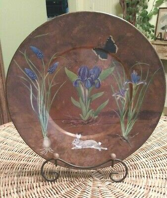 Decoupage Copper Charger, Floral, Rabbit, Butterfly, Rabbit, Hand Crafted Signed
