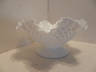 Vintage Fenton White Milk Glass Hobnail Ruffled Crimped Bowl Pedestal Scallopped