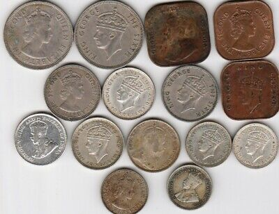15 different world coins from BRITISH MALAYA some silver