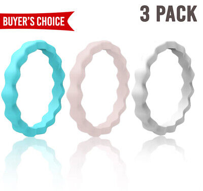 3PCS Flexible Silicone Wedding Ring Women Medical Grade Rubber Band Size 4-10#